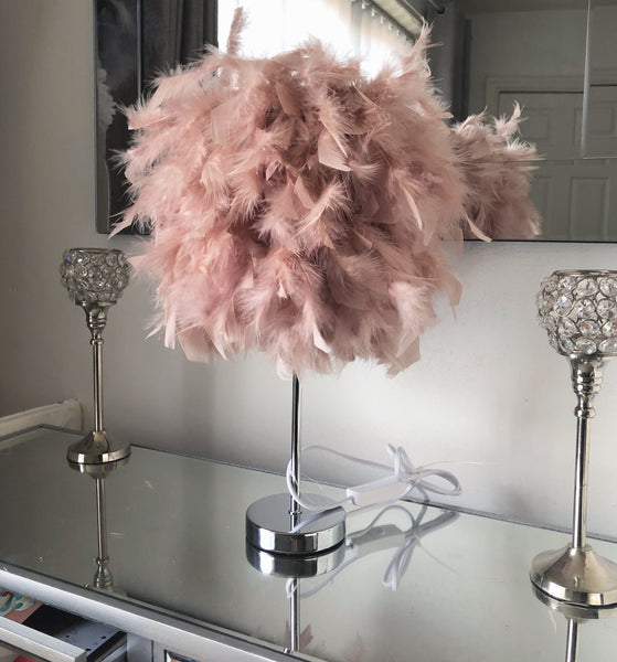Blush Pink Feather Table  LAMP SHADE / LAMP READY TO SHIP