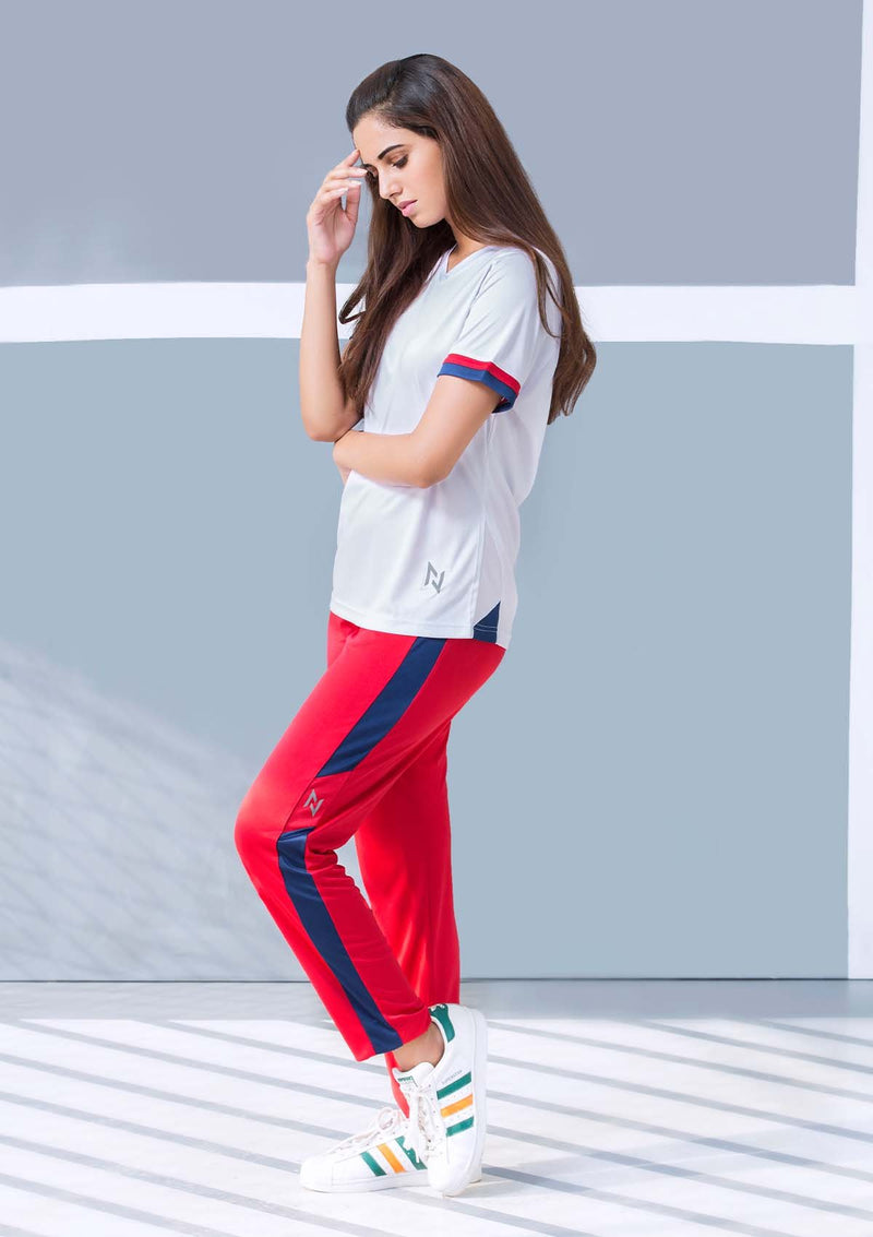 TRAINING TROUSERS - NEON RED AND BLUE