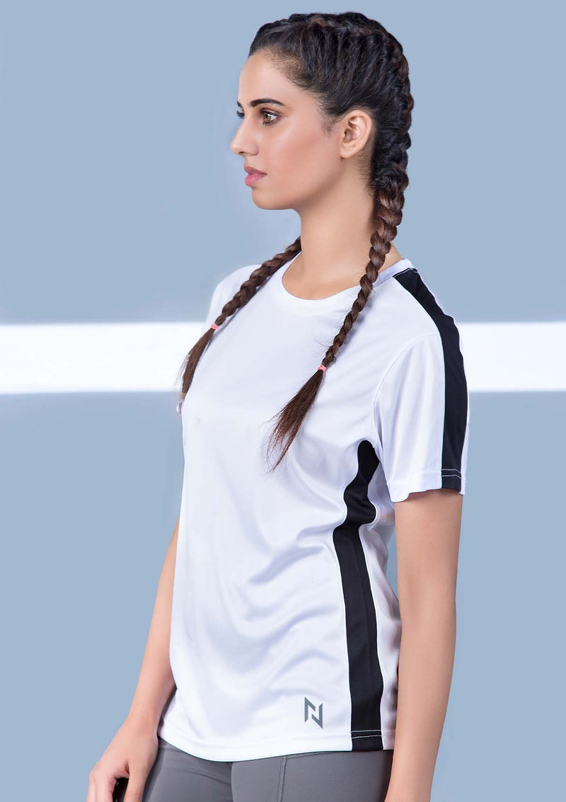 TRAINING TOP WITH WARP KNITTED BACK - WHITE