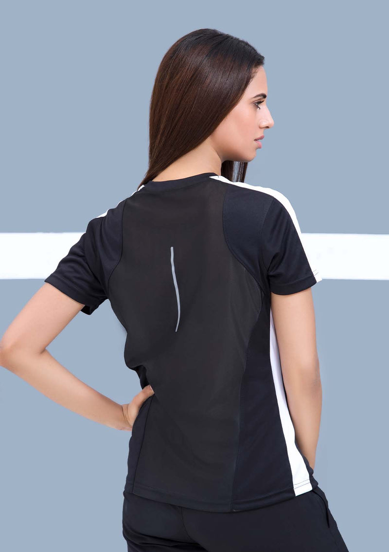 TRAINING TOP WITH WARP KNITTED BACK - BLACK