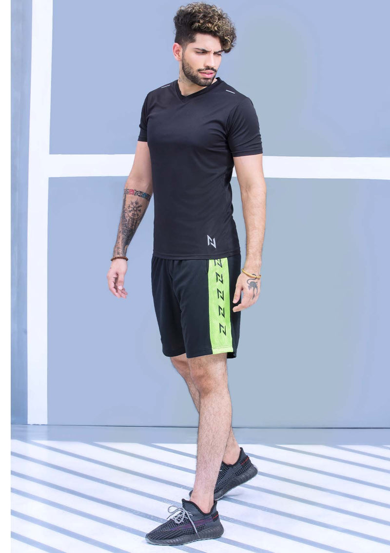 TRAINING SHORTS MESH - BLACK AND NEON GREEN