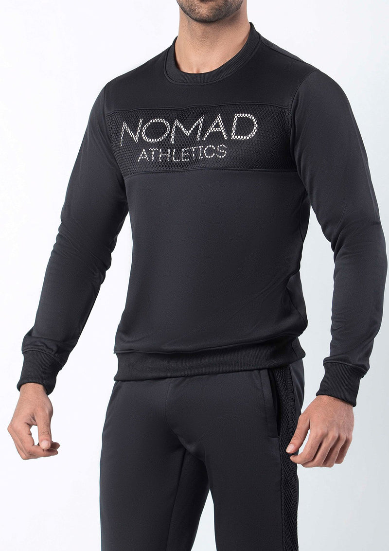 MESH SWEATSHIRT BLACK