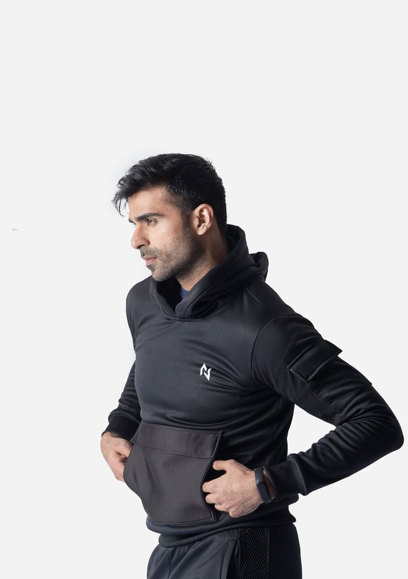 HOODIE WITH FRONT POCKET -  BLACK