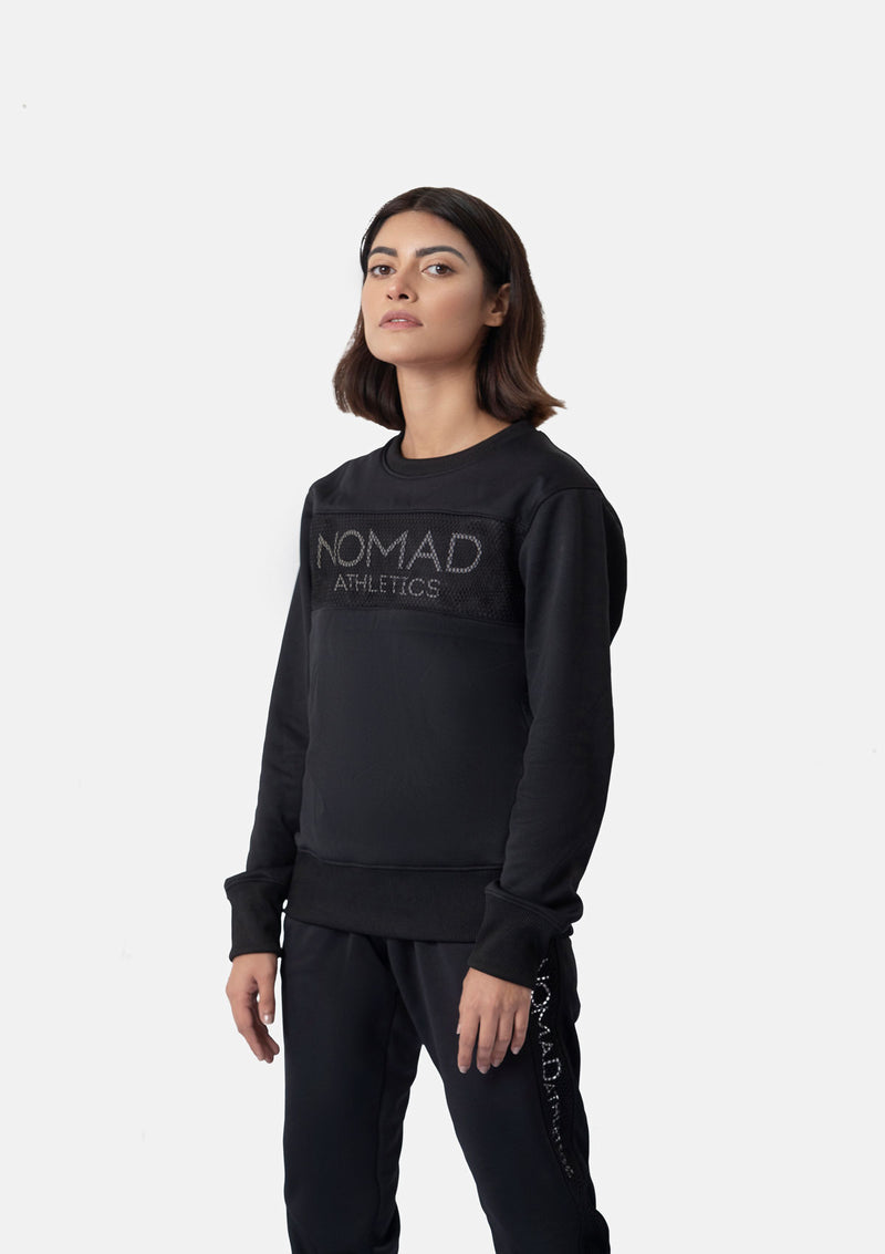 SWEATSHIRT WITH MESH - BLACK
