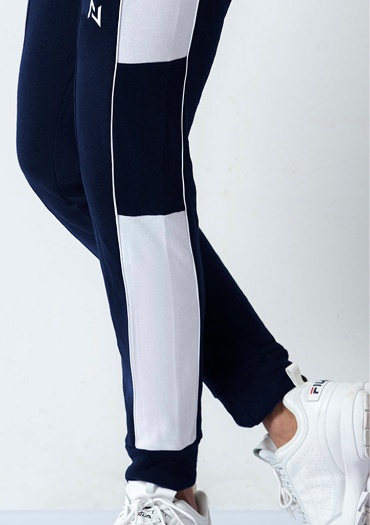 NAVY SIDE PANEL TROUSERS