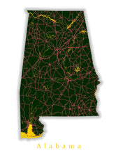 Load image into Gallery viewer, Alabama State Map Print