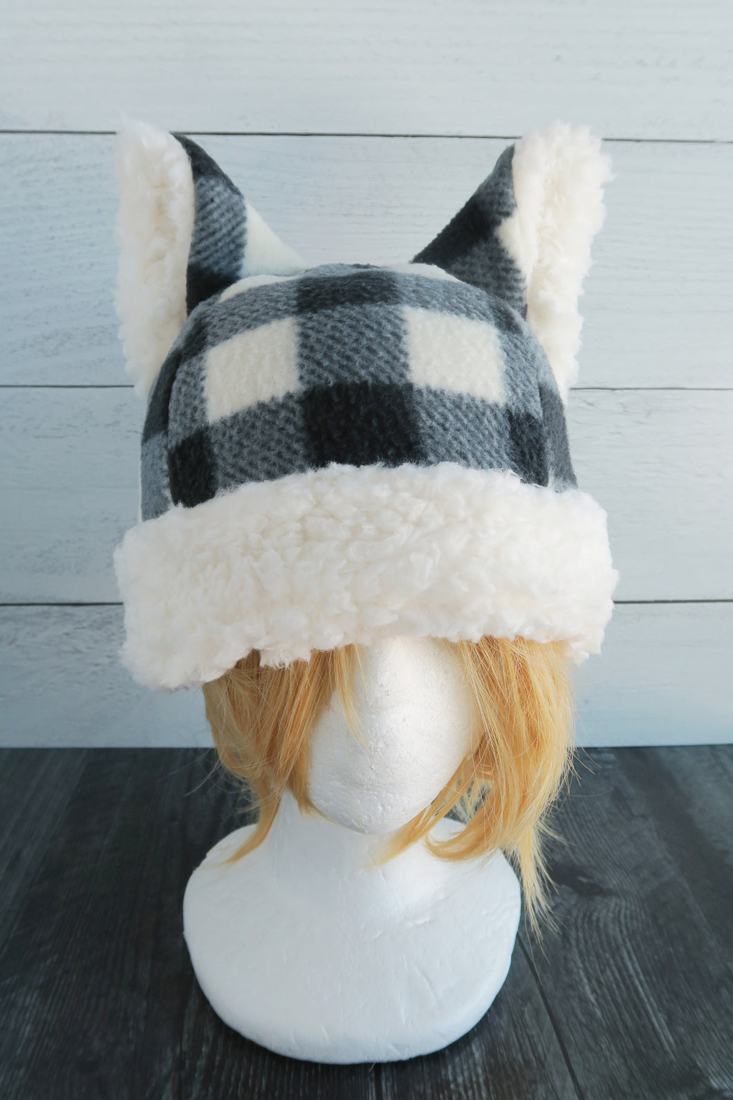 Checkered Cat Fleece Hat - Sherpa Hat