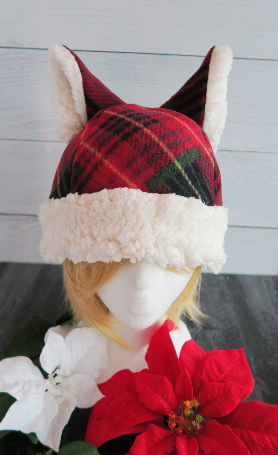 Christmas Cabin Plaid Cat Fleece Hat - Sherpa Hat