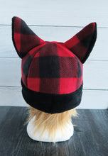 Load image into Gallery viewer, Buffalo Plaid Cat Fleece Hat - Sherpa Hat