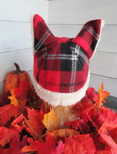 Load image into Gallery viewer, Red Plaid Cat Fleece Hat - Sherpa Hat