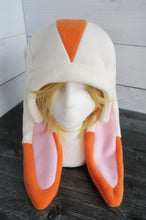 Load image into Gallery viewer, Cream and Orange Rabbit Fleece Hat