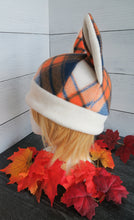 Load image into Gallery viewer, Orange-Blue Plaid Cat Fleece Hat - Sherpa Hat