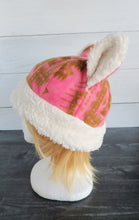 Load image into Gallery viewer, Pink Aztec Cat Fleece Hat - Sherpa Hat
