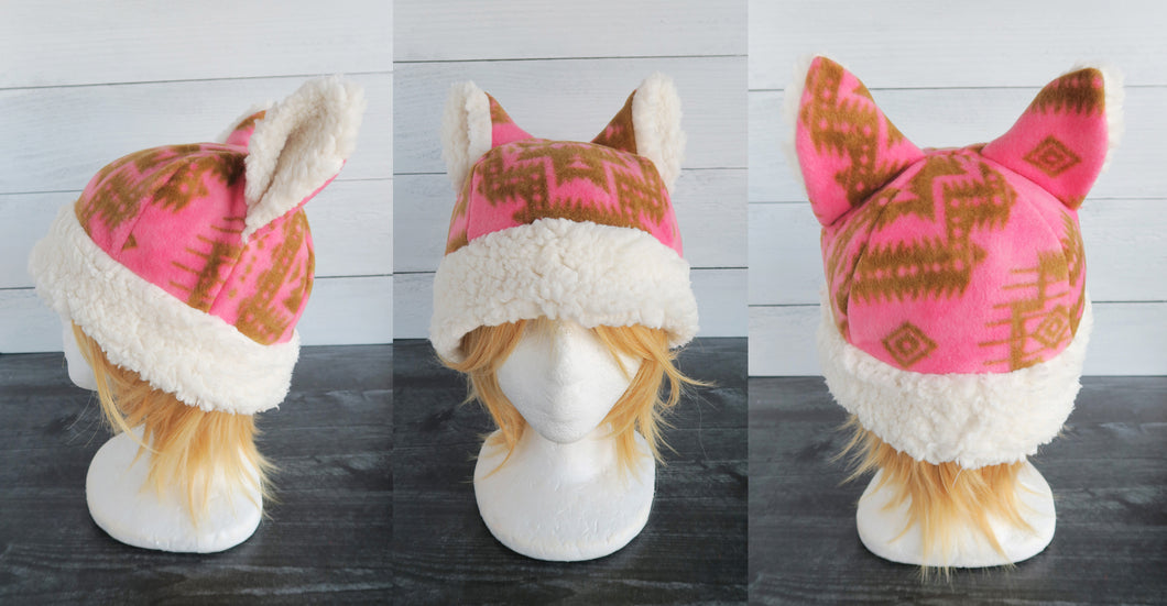 Pink Aztec Cat Fleece Hat - Sherpa Hat