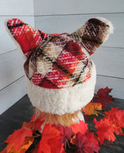 Load image into Gallery viewer, Red-Brown Plaid Cat Fleece Hat - Sherpa Hat