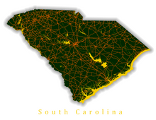 Load image into Gallery viewer, South Carolina State Map Print