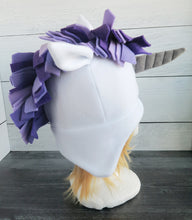 Load image into Gallery viewer, Purple Unicorn Fleece Hat
