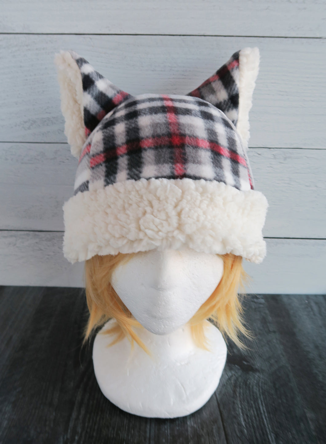 White Plaid Winter Cat Fleece Hat - Sherpa Hat