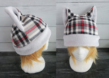 Load image into Gallery viewer, White Plaid Winter Cat Fleece Hat - Sherpa Hat