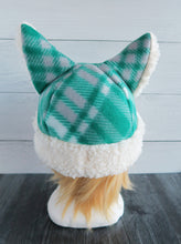 Load image into Gallery viewer, Winter Green Christmas Cat Fleece Hat - Sherpa Hat
