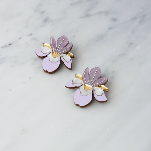 "Lilac ""Iris"" Statement Stud Earrings"