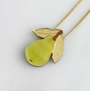 "Green & Gold ""Mini Pear"" Pendant Necklace"