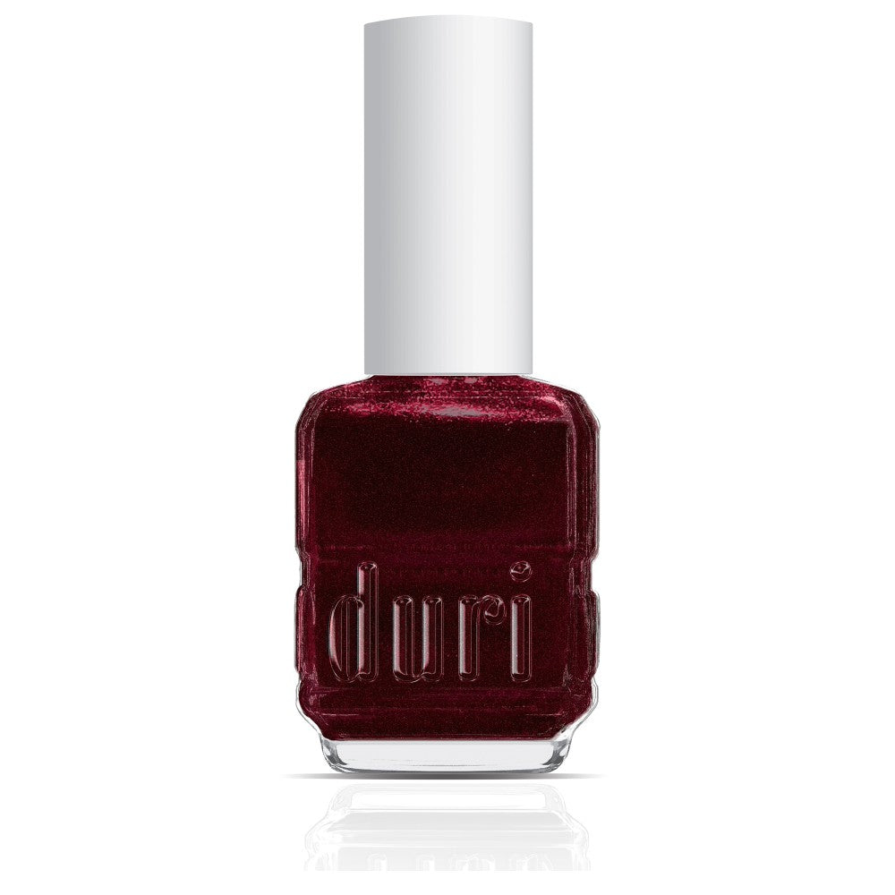 300 Night Before Christmas by duri cosmetics. Burgundy glitter nail polish shade. Dark red nail polish for the holidays. On trend for December.