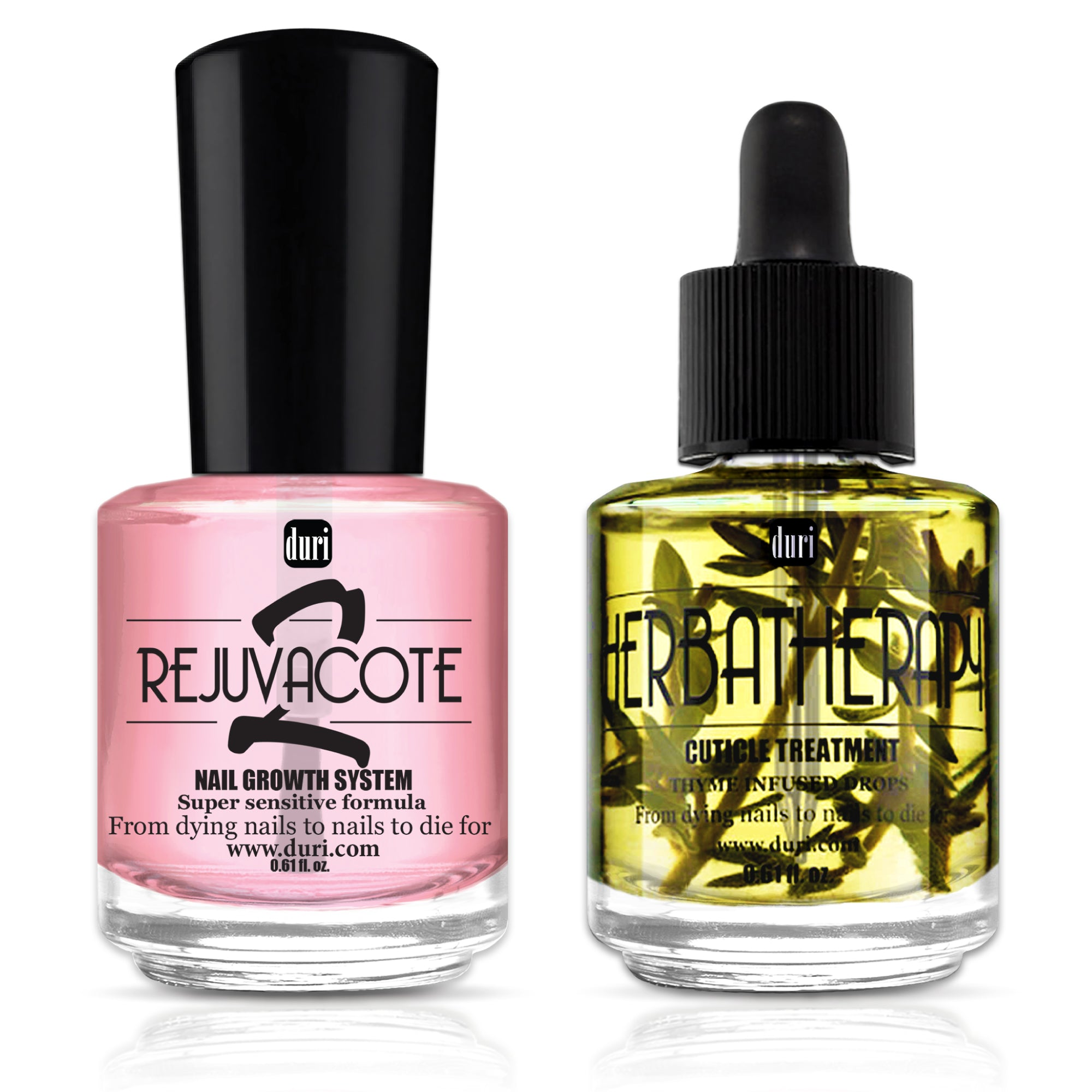 Rejuvacote 2 Nail Growth Base & Top Coat Nail Polish System + Herbatherapy Cuticle Treatment Drops
