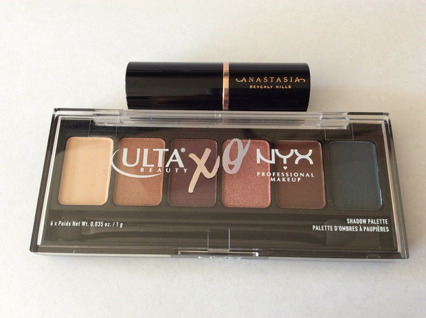 ULTA BEAUTY XO NYX 6 Eyeshadow Palette & Sample Size ABH Banana Contour Stick