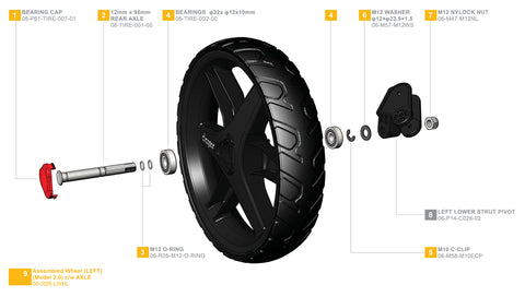 Clicgear 2.0 & 3.0 - Left Wheel Complete