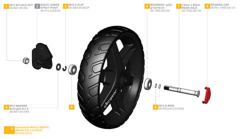 Clicgear 2.0 & 3.0 - Right Wheel Complete