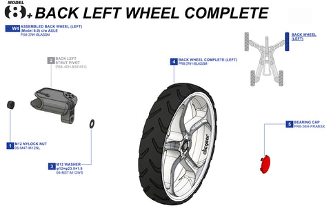 Clicgear 8+ - Back Left Wheel Complete