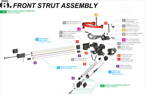 Clicgear 8+ - Front Strut Assembly