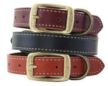 Auburn Leathercrafters Lake Country Stitched Leather Dog Collar, Leashes and Collars