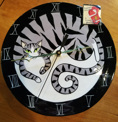 April Gadler Coffee Cat Wall Clock