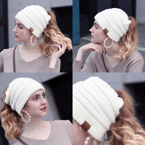 Soft Knit Ponytail Beanie Hat - Cicoom