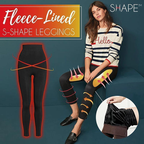 Winter Thickened Warm Fleece Lined High Waist Leggings - Cicoom
