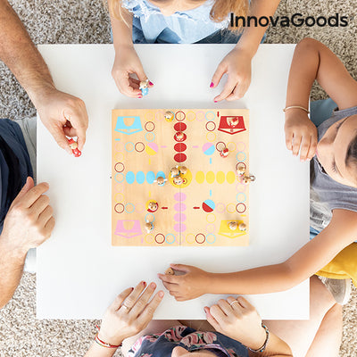 Wooden Table Set with Animals Pake InnovaGoods 18 Pieces.