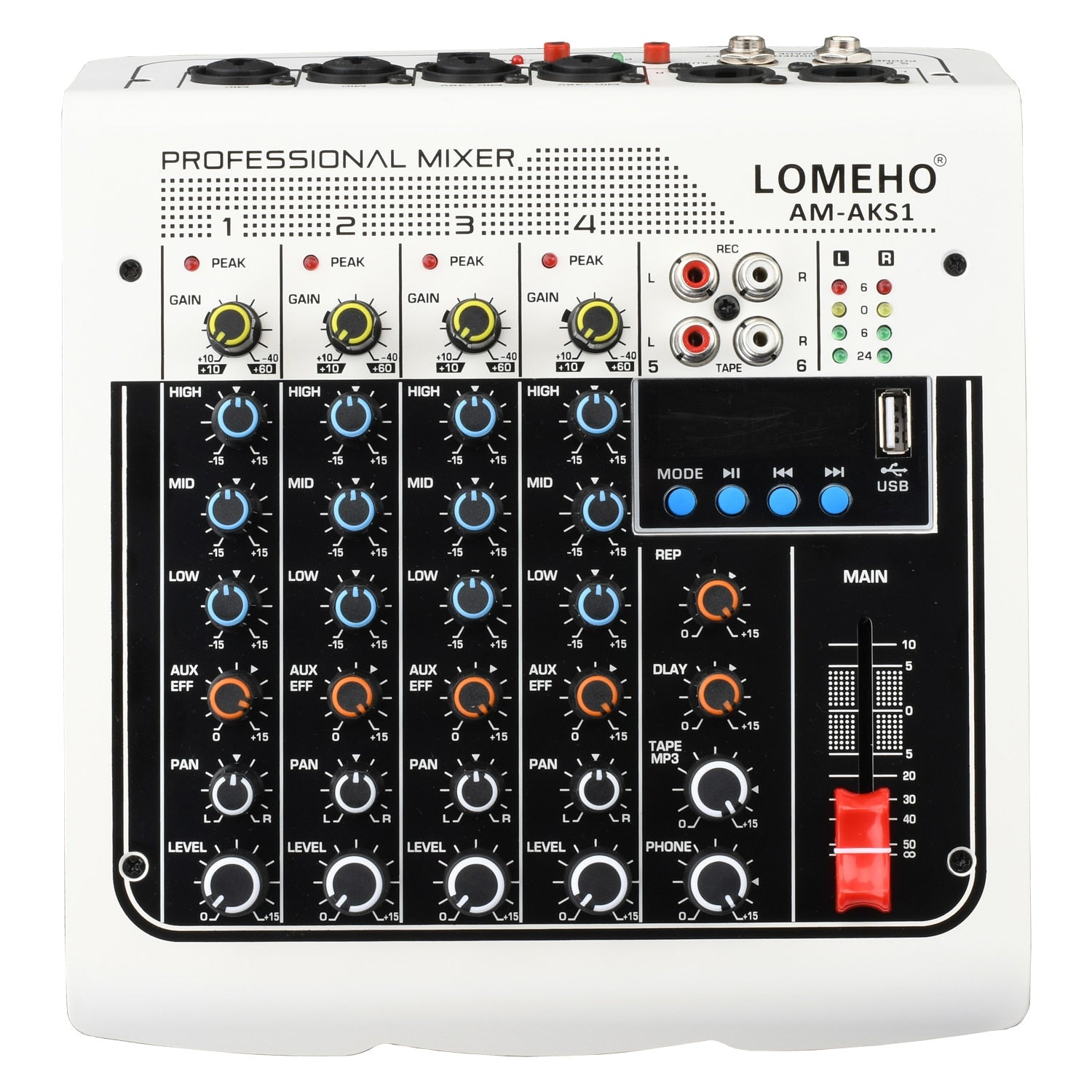 Lomeho AM-AKS1 - Mixer profissional, 4 mono, 1 estéreo, 6 canais, bluetooth, usb play record audio