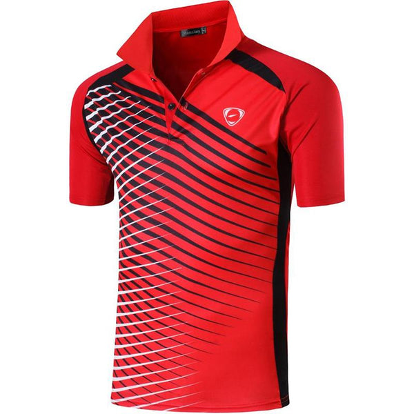 jeansian Men's Sport Tee Polo Shirts POLOS Poloshirts Golf Tennis Badminton Dry Fit Short Sleeve LSL243 Red2