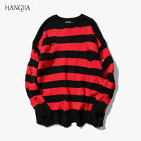 Black Red Striped Sweaters Washed Destroyed Ripped Sweater Men Hole Knit Jumpers Men Women Oversized Sweater Harajuku