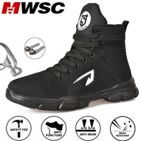MWSC Safety Work Boots Shoes For Men Indestructible Steel Toe Cap Shoes All Season Working Boots Security Work Shoes Big Size 48