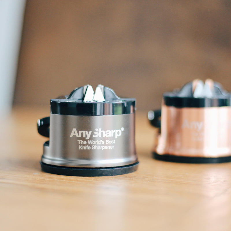 AnySharp Pro World's Best Knife Sharpener, Brushed Metal
