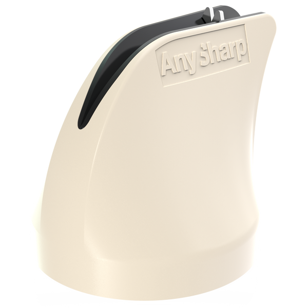 AnySharp Twist, Hands Free Safety Knife Sharpener with PowerGrip Suction, Cream