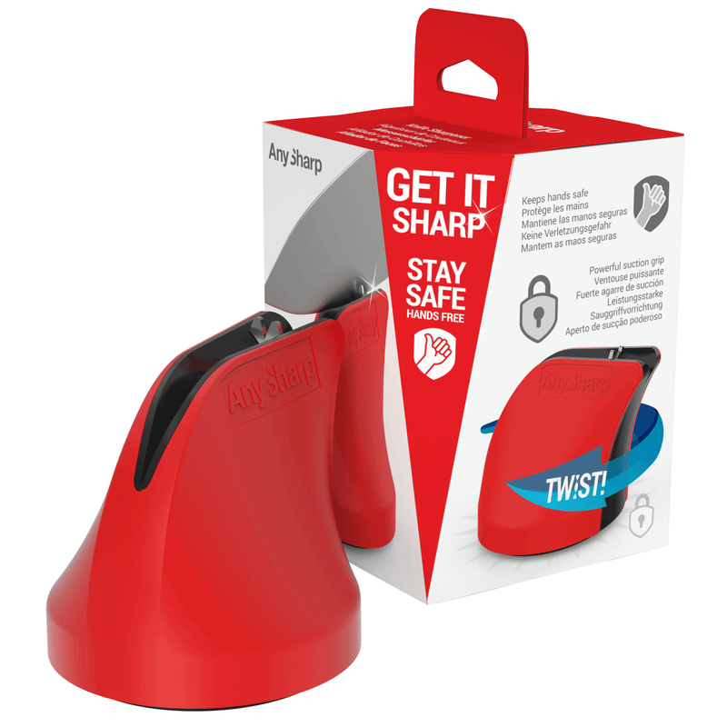 AnySharp Twist, Hands Free Safety Knife Sharpener with PowerGrip Suction, Red