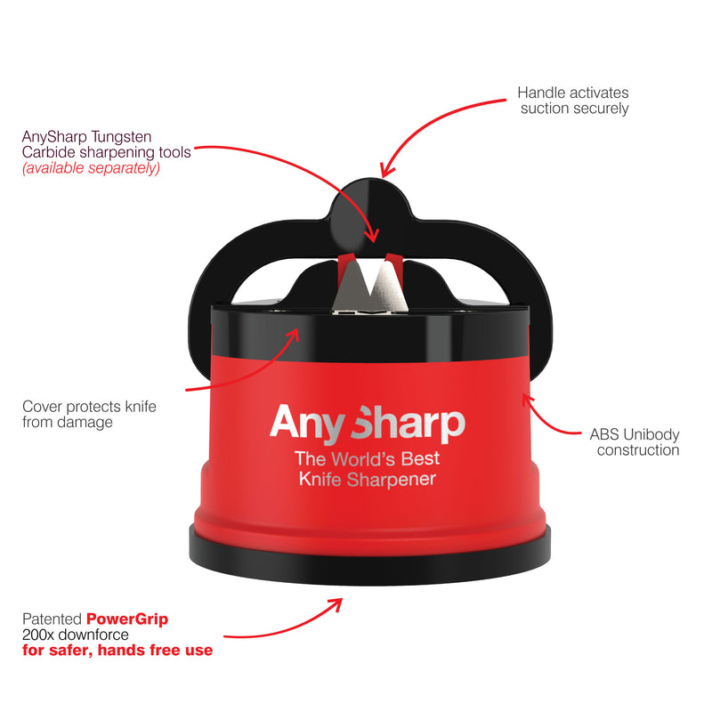 AnySharp World's Best Knife Sharpener, Red