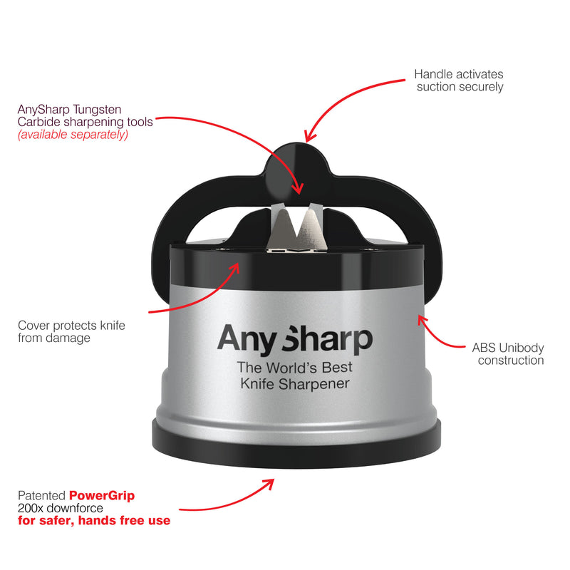 AnySharp World's Best Knife Sharpener, Silver