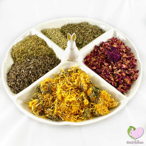 BunFun flower and herb mix for rabbits, guinea pigs, chinchillas, hamsters, degus and gerbils with Calendulas/Marigold, Plantain, Dandelion, Rosebuds, Fennel and Chickweed