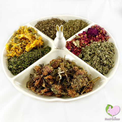 Meadow Dream Mix with Nettle, Raspberry Leaves, Calendulas, Strawberry Leaves, Red Clover, Rosebuds and Plantain for rabbits, guinea pigs, chinchillas, hamsters, degus and gerbils.