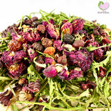 Somebunny Loves You Mix with self dried Dandelions, Hibiscus, Rosehips and Rosebuds for rabbits, guinea pigs, chinchillas, hamsters, degus and gerbils